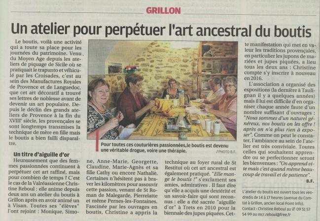 ARTICLE LA PROVENCE DU 25 09 2015 BOUTIS GRILLON25092015_0001.jpg