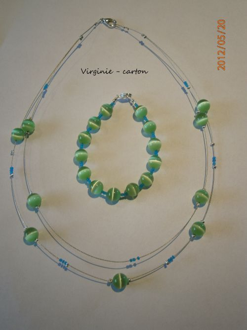 Collier et bracelet oeil de chat vert et roraille lagon