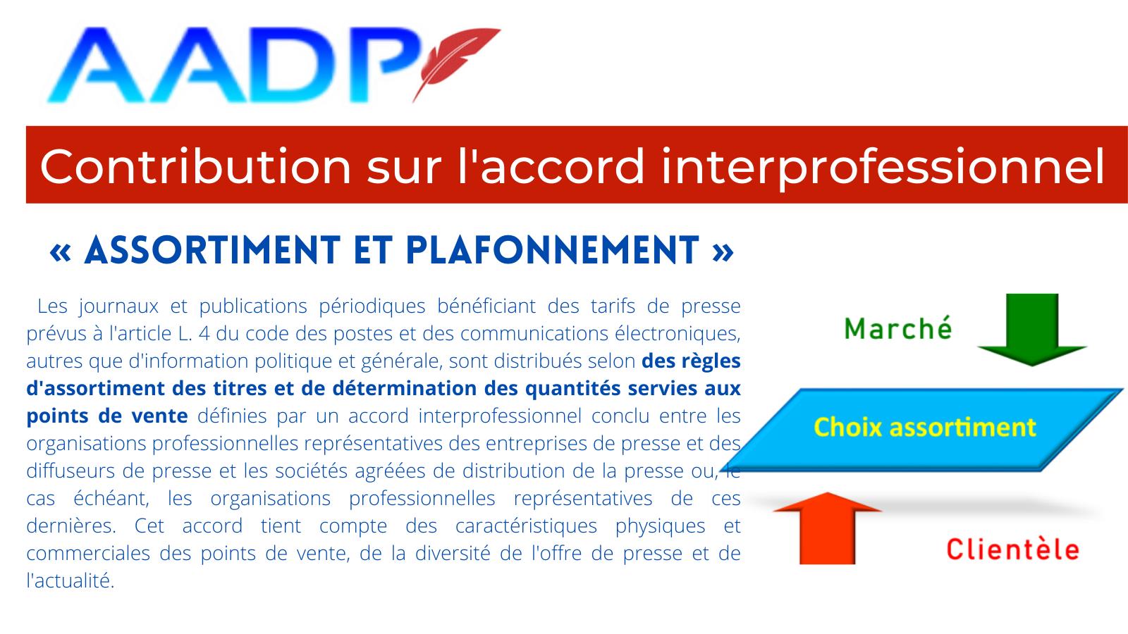 Contribution de l'AADP sur un projet d'accord relatif à « l'assortiment et plafonnement »