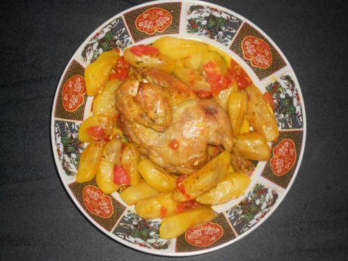 poulet au four avec ses pommes de terre