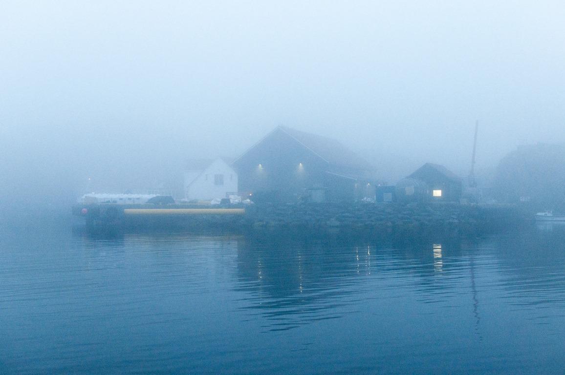 arrivée en Norvege dans le brouillard