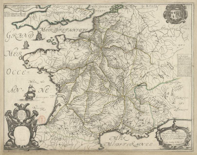 Réseau des routes de Poste de Sanson TAVERNIER en 1632.JPG