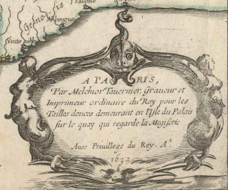 Réseau des routes de Poste de TAVERNIER en 1632 (extrait).JPG