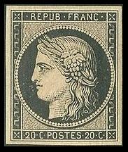 1er Timbre Ceres_20c_noir_1849 de Jacques-Jean Barre déesse des moissons symbole de la  2ème république.jpg