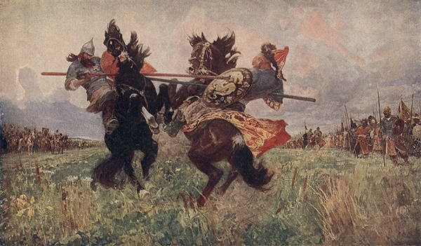 P. Ryjenko. Le combat de Peresvet avec Tchéloubeï avant la bataille de Koulikovo avec les mongols.jpg