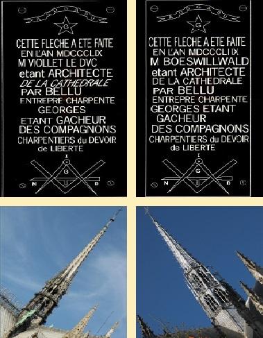 C35 Flèches de Notre-Dame de Paris et de la cathédrale Sainte-Croix d'Orléans avec leur plaque.jpg