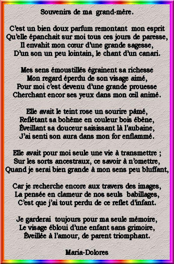 Souvenirs De Ma Grand Mère Poemes De Marido Toutes Formes