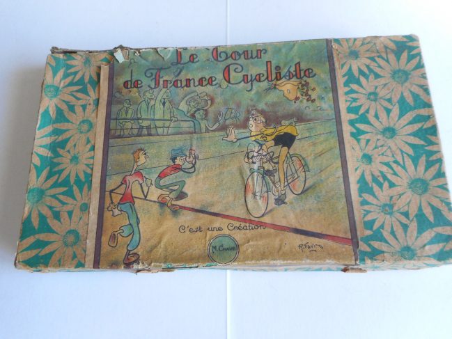 Les jeux : Jeu du Tour de France Création artisanale de M. Chave avec des dessins de R. Favro