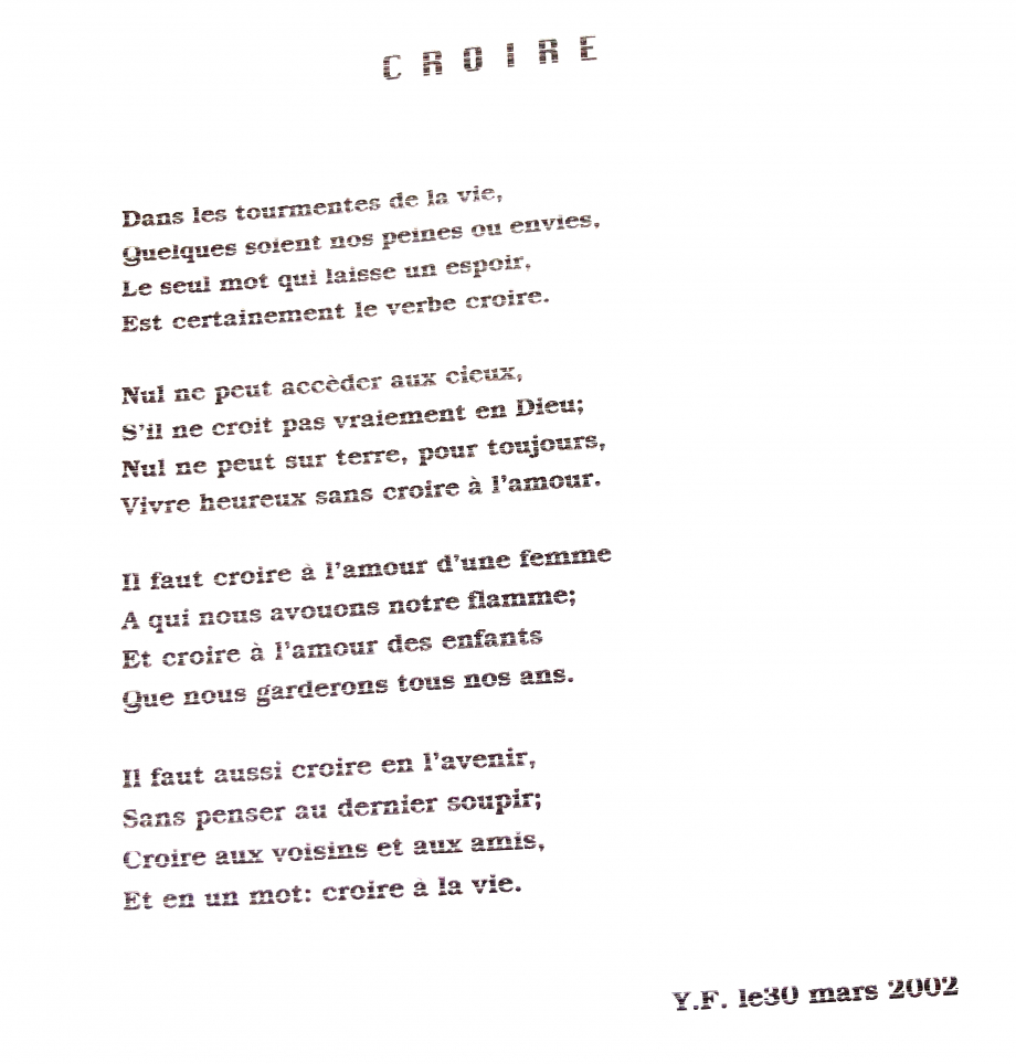 Poeme Yves Fougerat