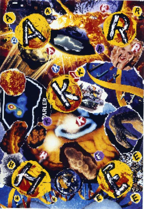 Carlos Ginzburg, Hybride fractal, 1994, assemblage hybride et numérisation intégrale de la composition, image volontairement très pixélisée, tirage cibachrome final : 1,2 x 1,9 m