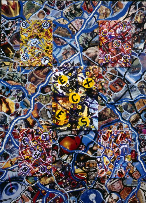 Carlos Ginzburg, Excès, série Le Réseau neuronal de la socio-culture, 1997, mixed-média, images numérisées, 1,2 x 1 m