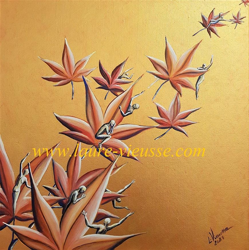 Feuilles d'érable en automne - 40x40 cm