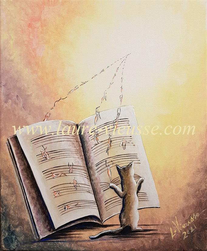 Le Chaton compositeur - 25x30 cm