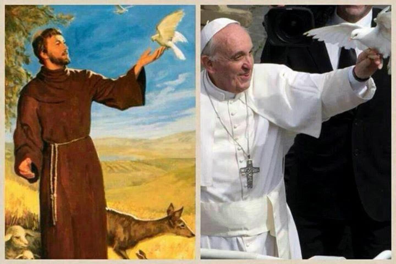 Franccois d'Assise et le Pape François.jpg