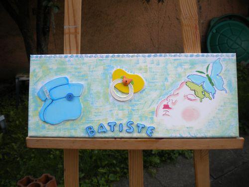 un de mes tableaux revisiter pour BB  Batiste ( porte photo )