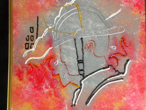 details de prés  (cerne , peinture vitrail )