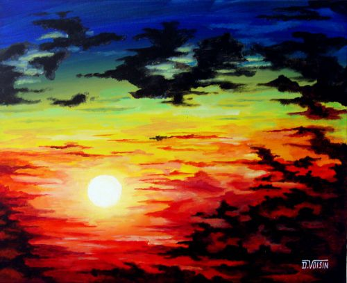 Coucher soleil dans les nuages