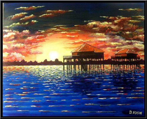 Coucher de soleil sur le Bassin ( vendu )