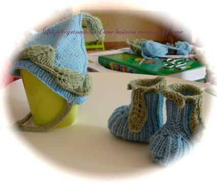 Chaussons et bonnet nouveau-né
