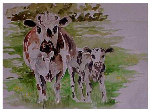 Vaches    -    (Aquarelle - format 24 x 32)