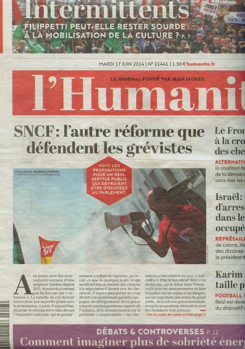 Publication L'humanité n°21441 le 17 juin 2014.jpeg