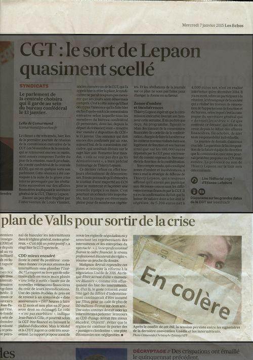 Publication presse-écrite dans Les Echos du mercredi 7 janvier 2015