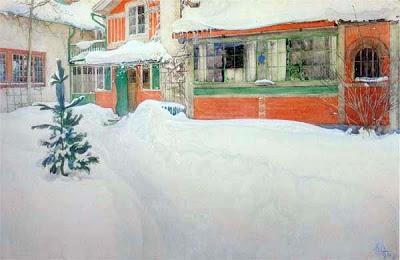 Carl Larsson - Masison de Carl sous la neige.jpg