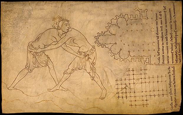 Folio 28 - Lutteurs - Plan d'eglise cistercienne - Choeur de l'eglise de Cambrai.jpg
