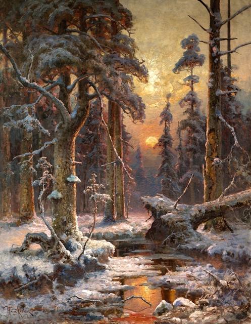 Зимний_закат_в_еловом_лесу_-_Julius_von_Klever_(1896).jpg