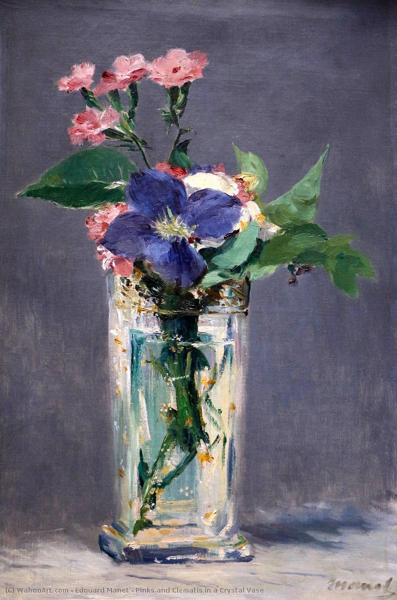 Edouard-Manet-Pinks-and-Clematis-in-a-Crystal-Vase
