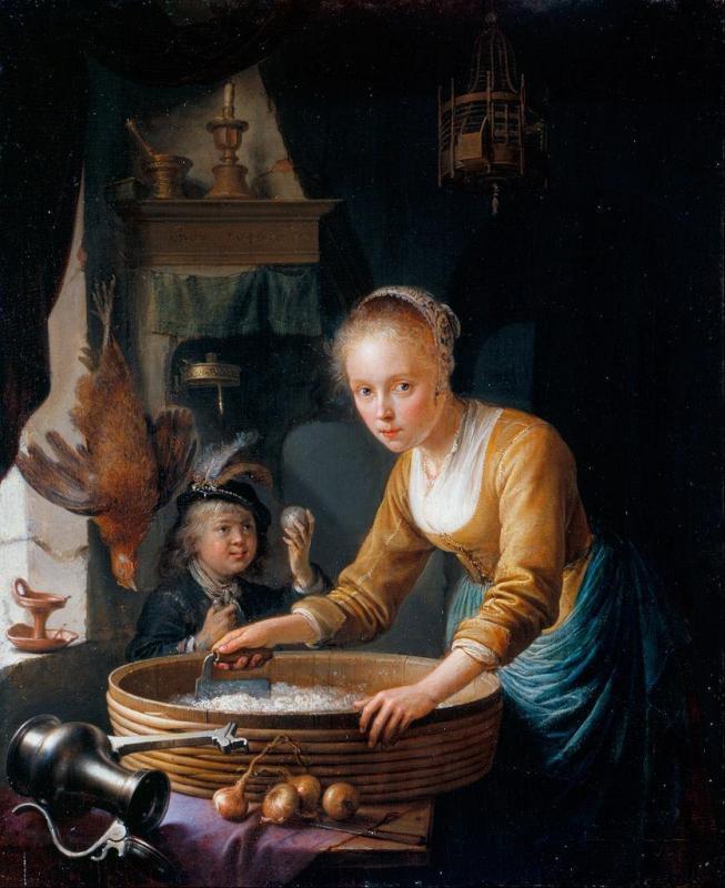 gerard-dou-jeune-fille-hachant-des-oignons-1646
