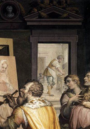 Giorgio_vasari_san_luca_ritrae_la_vergine_oratorio_di_san_luca_annunziata-e1551905013636-348x500-1