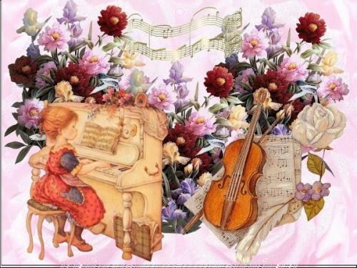 enfant jouant du piano entouree de fleurs et violon.jpg