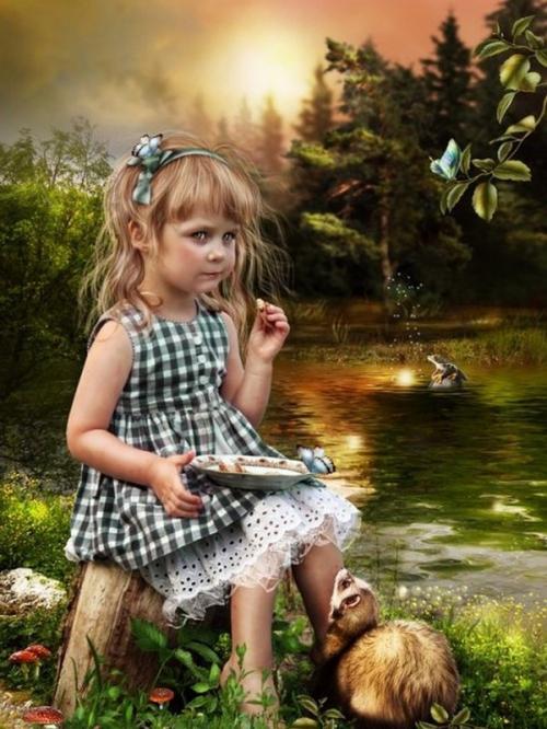 enfant au bord du lac mangeant.jpg
