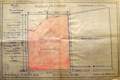 1946 28 janvier plan agrandissement cimetiere.JPG