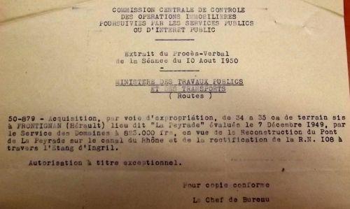 Acquisition de terrains pour la reconstruction du pont en 1950