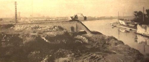 Destruction des culées du pont de La Peyrade