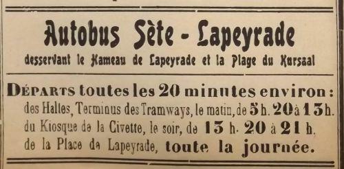 1937 Ligne d'autobus Sète La Peyrade
