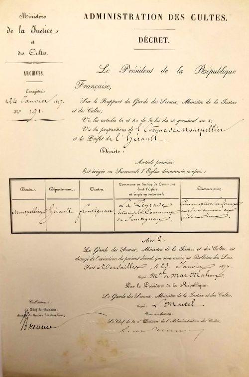 1877 Eglise de La Peyrade est érigée en succursale