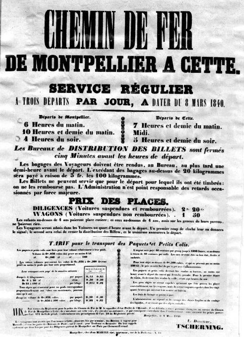 1839 La ligne Montpellier Cette