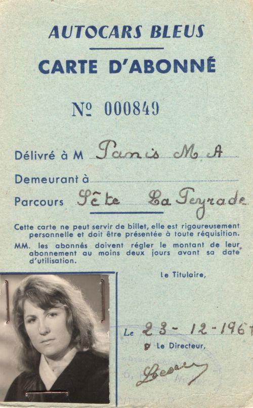1961 Abonnement autocars bleus