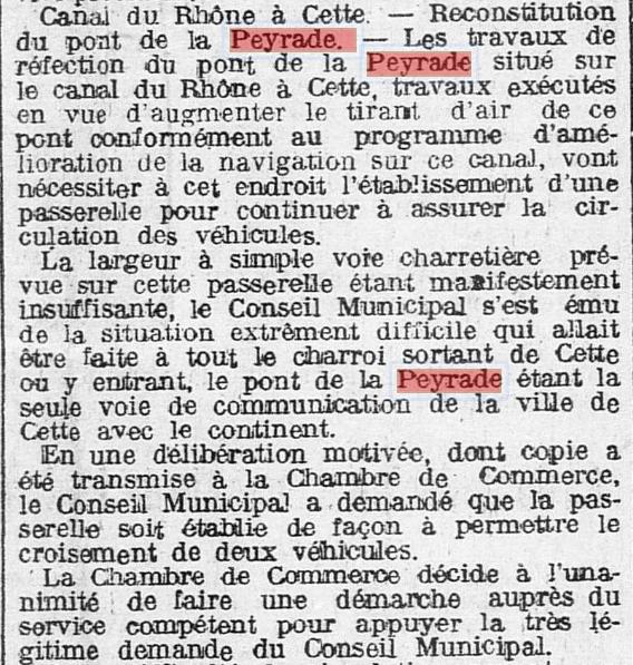 1923 Elargissement du pont de La Peyrade