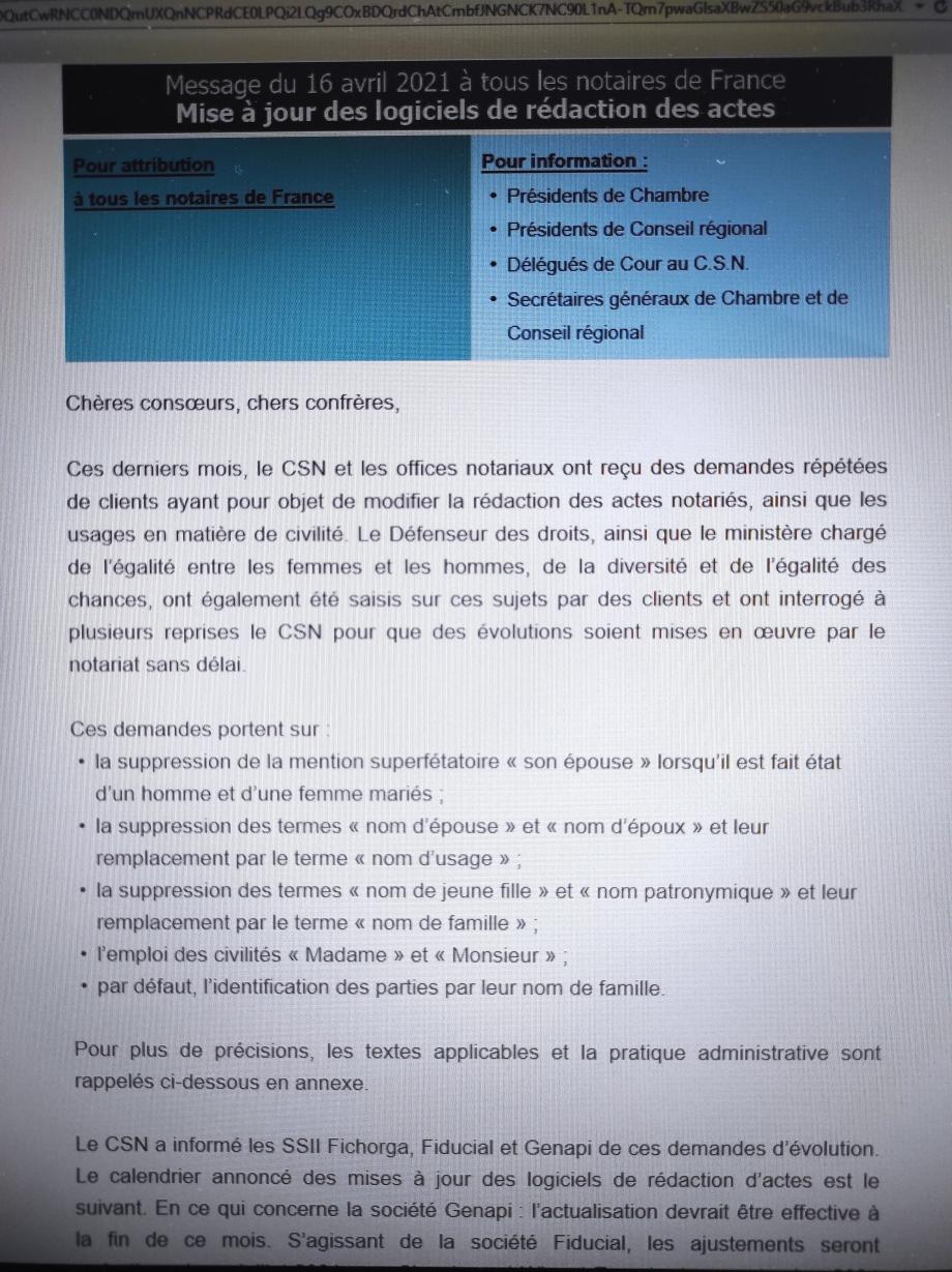 Info mail reçu par les notaires