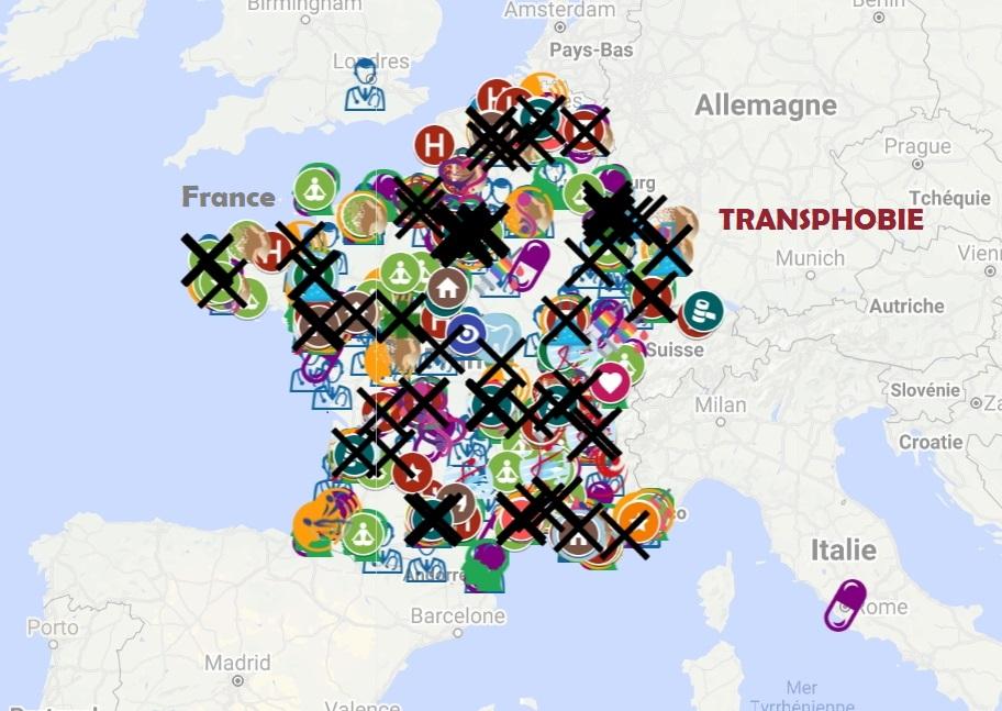Transphobie carte Fransgenre