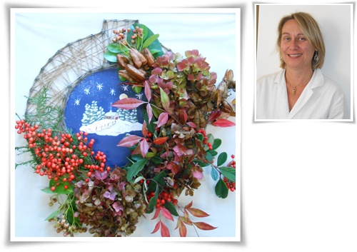 montage couronne Noël  feuillage rouge Sylvie 2015.jpg