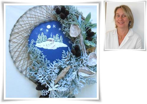 montage couronne Noël  feuillage argenté Sylvie 2015.jpg