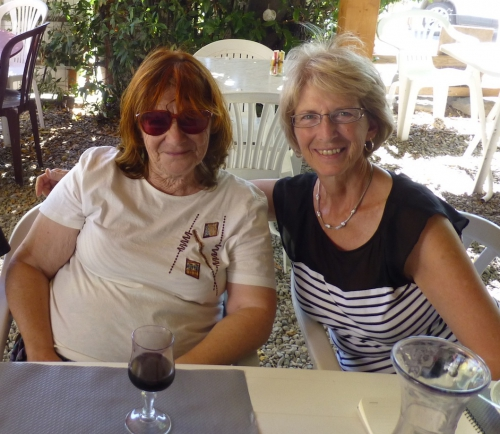Val Winyard and Sheila Goodwin at lunch near Canet.JPG