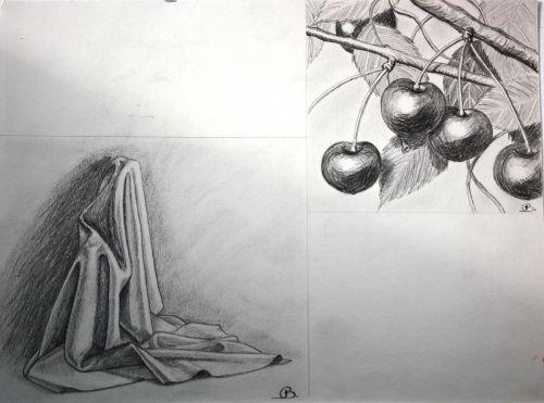 Essais - drapé & cerises au crayon
