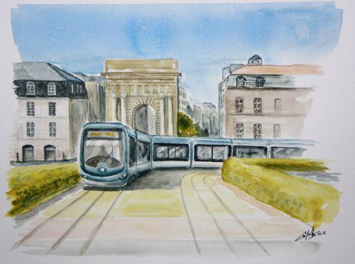 Bordeaux - le tramway - la porte de Bourgogne