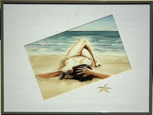Nue sur la plage (encadré)